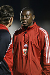 24 March 2004: Fourteen year old rookie forward Freddy Adu (right) talks with his rookie head coach Peter Nowak (left) before the game. DC United of Major League Soccer defeated the Wilmington Hammerheads of the Pro Select League 1-0 at the Legion Sports Complex in Wilmington, NC in a Carolina Challenge Cup match...