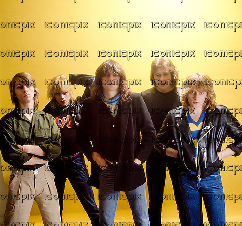 GIRL - L-R: Simon Laffy, Gerry Laffy, Phil Lewis, Dave Gaynor, Phil Collen - photosession in London UK - Jun 1980.  Photo credit: George Chin/IconicPix