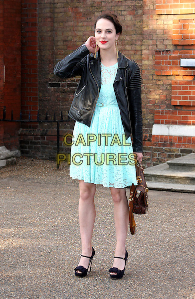 Jessica Brown.English National Ballet Summer Party at the Orangery, Kensington Park Gardens, London, England 29th June 2011.full length blue dress black leather jacket.CAP/ROS.©Steve Ross/Capital Pictures.