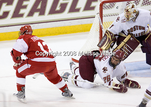 Matt Thurber (Wisconsin - 12), Nick Petrecki (Boston College - 26) (Muse) - The Boston College Eagles defeated the University of Wisconsin Badgers 5-4 on Friday, October 10, 2008 after raising their 2008 National Championship banner at Kelley Rink in Conte Forum in Chestnut Hill, Massachusetts.