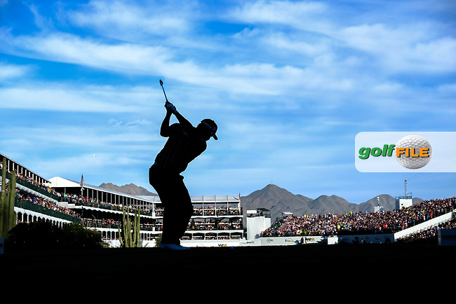 Hideki Matsuyama (JPN) on the 16th tee during the 1st round of the Waste Management Phoenix Open, TPC Scottsdale, Scottsdale, Arisona, USA. 31/01/2019.<br /> Picture Fran Caffrey / Golffile.ie<br /> <br /> All photo usage must carry mandatory copyright credit (© Golffile | Fran Caffrey)