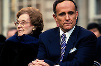 (011222-SWR09.jpg)  New York, NY  -- 2 JAN 94 -- New York City Mayor Rudy Giuliani with his mother, Helen Giuliani, during his inauguration at City Hall. Giuliani will officially be leaving ofice at Midnight on December 31st 2001 after serving two four-year terms.
