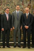 King Felipe VI of Spain receives General Motors European President, Karl-Thomas Neumann, during a work meeting at Zarzuela Palace in Madrid, Spain. July 08, 2015. (ALTERPHOTOS/Victor Blanco)