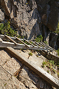 Trail ladder along the Hi-Cannon Trail in Franconia Notch State Park of New Hampshire. This trail leads to the summit of Cannon Mountain.