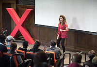 """Producer, director, and writer Joan Scheckel talks about """"The F-Word.""""<br /> Occidental College's second TEDx event, Choi Auditorium, April 2, 2016. Featuring talks on sustainability and global development by speakers that included five students, a faculty member and seven external speakers.<br /> (Photo by Marc Campos, Occidental College Photographer)"""