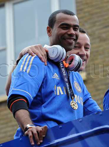 20.05.2012 Chelsea London, England..Champions League Cup Winners Parade atop the traditional open-top bus to the Stamford Bridge Ground..Ashley Cole And John Terry