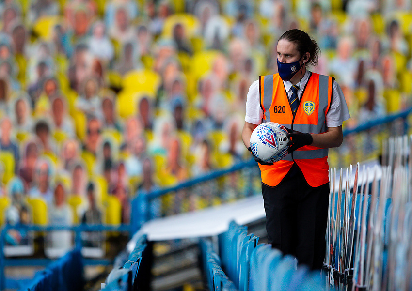 A steward gathers a match ball<br /> <br /> Photographer Alex Dodd/CameraSport<br /> <br /> The EFL Sky Bet Championship - Leeds United v Fulham - Wednesday 24th June 2020 - Elland Road - Leeds<br /> <br /> World Copyright © 2020 CameraSport. All rights reserved. 43 Linden Ave. Countesthorpe. Leicester. England. LE8 5PG - Tel: +44 (0) 116 277 4147 - admin@camerasport.com - www.camerasport.com<br /> <br /> Photographer Alex Dodd/CameraSport<br /> <br /> The Premier League - Newcastle United v Aston Villa - Wednesday 24th June 2020 - St James' Park - Newcastle <br /> <br /> World Copyright © 2020 CameraSport. All rights reserved. 43 Linden Ave. Countesthorpe. Leicester. England. LE8 5PG - Tel: +44 (0) 116 277 4147 - admin@camerasport.com - www.camerasport.com