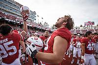 Stanford, CA - November 5, 2016: Henry Hattis celebrates after the Stanford vs Oregon State game at Stanford Stadium Saturday. <br /> <br /> Stanford won 26-15.