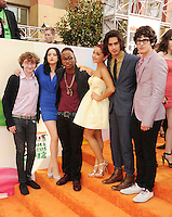 LOS ANGELES, CA - MARCH 31: Michael Eric Reid, Elizabeth Gillies, Leon Thomas III, Ariana Grande, Avan Jogia and Matt Bennett arrive at the 2012 Nickelodeon Kids' Choice Awards at Galen Center on March 31, 2012 in Los Angeles, California.