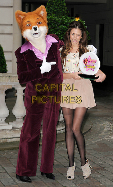 STACEY SOLOMON.is named as Foxy Bingo's 'Celebrity Mum Of The Year' 2011, Chancery Court Hotel, High Holborn, London, England, UK, March 29th 2011..photocall full length mother celeb beige brown mini skirt print top blouse  dress cream tights black sheer peep toe ankle boots booties shooboots grey gray platform holding trophy award fox playsuit .CAP/CAN.©Can Nguyen/Capital Pictures.