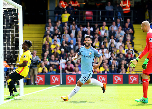 May 21st 2017, Vicarage Road, Watford, Herts, England; EPL Premier league football, Watford versus Manchester City; Sergio Aguero of Manchester City makes it 0-3 in the 36th minute, and celebrates