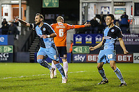 Paul Hayes of Wycombe Wanderers (left) celebrates scoring his team's second goal against Luton Town to make it 0-2 during the Sky Bet League 2 match between Luton Town and Wycombe Wanderers at Kenilworth Road, Luton, England on 26 December 2015. Photo by David Horn.