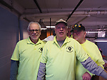 Farmingdale, New York, USA. January 21, 2018. (L-R) BAKE TURNER, DAVE WILLIAMS the club president, and JOE NICOLETTI, members of Train Masters of Babylon, pose on the Controller Loft of the TMB Model Train Club's headquarters.