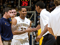 Allen Crabbe of California celebrates with teammates during the game against UC Irvine at Haas Pavilion in Berkeley, California on November 11th, 2011.  California defeated UC Irvine, 77-56.