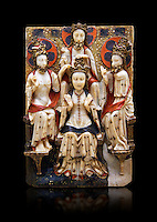 Gothic marble relief sculpture of the Coronation of the Virgin Mary made in London or York, 1420-1460.  National Museum of Catalan Art, Barcelona, Spain, inv no: MNAC  64124. Against a black background.
