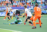 The Hague, Netherlands, June 06: Nicolas Jacobi #1 of Germany in action during the match during the field hockey group match (Men - Group B) between Germany and The Netherlands on June 6, 2014 during the World Cup 2014 at Kyocera Stadium in The Hague, Netherlands. Final score 0-1 (0-1) (Photo by Dirk Markgraf / www.265-images.com) *** Local caption *** Nicolas Jacobi #1 of Germany, Linus Butt #3 of Germany, Jelle Galema #20 of The Netherlands, Benjamin Weiss #15 of Germany, Constantijn Jonker #27 of The Netherlands