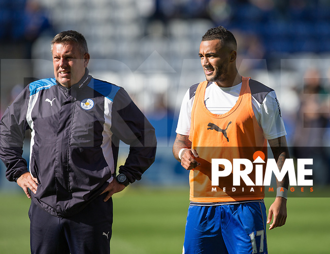 Leicester City assistant manager Craig Shakespeare & Danny Simpson of Leicester City watch warm ups during the Premier League match between Leicester City and Southampton at the King Power Stadium, Leicester, England on 2 October 2016. Photo by Andy Rowland.