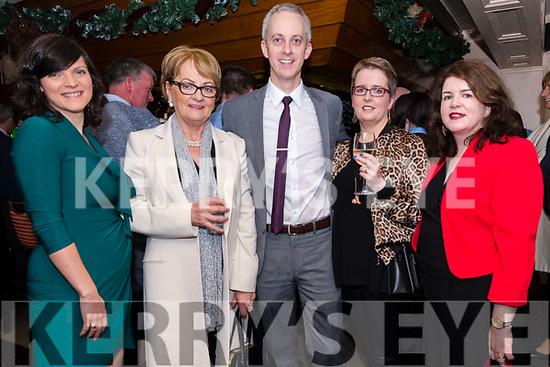 Karolina Barrett, Mary Barrett, Anthony Barrett, Catriona Griffin and Aine Barrett enjoying the Lispole GAA function at the Skellig Hotel in Dingle on Thursday night.