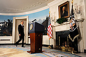 Washington, DC - November 12, 2009 -- United States President Barack Obama walks to the podium before making a statement to the press on the economy in the Diplomatic Reception Room at the White House, Thursday, November 12, 2009 in Washington, DC. .Credit: Olivier Douliery / Pool via CNP