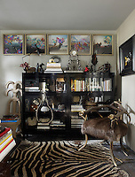 A display cabinet filled with books and covered in objects lines a wall behind a quirky armchair made of antler and deerskin