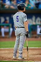 Jack Yalowitz (5) of the Grand Junction Rockies at bat against the Ogden Raptors at Lindquist Field on September 9, 2019 in Ogden, Utah. The Raptors defeated the Rockies 6-5. (Stephen Smith/Four Seam Images)