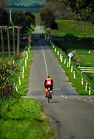 A Hamilton BHS senior B u20 boys rider in action during the 2017 NZ Schools Road Cycling championships day one team time trials at Koputaroa Road near Levin, New Zealand on Saturday, 30 September 2017. Photo: Dave Lintott / lintottphoto.co.nz