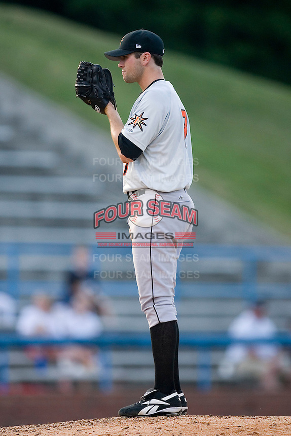 Starting pitcher Tim Bascom (17) of the Frederick Keys looks in to his catcher for the sign versus the Winston-Salem Warthogs at Ernie Shore Field in Winston-Salem, NC, Saturday, June 7, 2008.