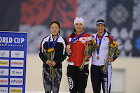 SPEED SKATING: SALT LAKE CITY: 21-11-2015, Utah Olympic Oval, ISU World Cup, Podium 500m Ladies, Sang-Hwa Lee (KOR), Hong Zhang (CHN), Brittany Bowe (USA), ©foto Martin de Jong