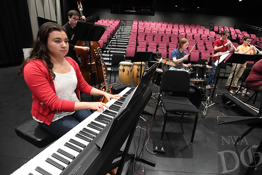 NWA Democrat-Gazette/J.T. WAMPLER  Susana Montoya os Springdale plays keyboard for the All-Star Jazz Ensemble, a group of high school musicians who are being trained by local jazz professionals Sunday April 9, 2017 at the Walton Arts Center in Fayetteville.