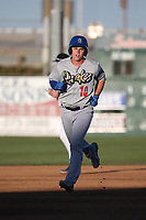 Will Smith (10) of the Rancho Cucamonga Quakes runs the bases after hitting a home run during a game against the Lancaster JetHawks at The Hanger on April 28, 2017 in Lancaster, California. Lancaster defeated Rancho Cucamonga, 16-10. (Larry Goren/Four Seam Images)