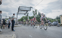 André Greipel (DEU/Lotto-Soudal) & the peloton crossing a small bridge<br /> <br /> 12th Eneco Tour 2016 (UCI World Tour)<br /> Stage 7: Bornem › Geraardsbergen (198km)