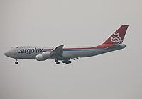 A Cargolux Boeing 747-8R7(F) Registration LX-VCE named City of Echternach landing on Runway 25R at Hong Kong Chek Lap Kok International Airport on 6.4.19 arriving from Dubai World Central International Airport, United Arab Emirates.