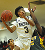 Rhyjon Blackwell #3 of Baldwin drives to the net for two points during the third quarter of a Nassau County AA-2 varsity boys basketball game against Westbury at Baldwin High School on Tuesday, Jan. 9, 2018. He scored a game-high 26 points to lead Baldwin to an 81-55 win.