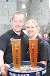 Sandy Asmus and Paul Gannon from Sarsfields before the Waiter Race as part of the Drogheda Food Festival...Photo NEWSFILE/Jenny Matthews.(Photo credit should read Jenny Matthews/NEWSFILE)....This Picture has been sent you under the condtions enclosed by:.Newsfile Ltd..The Studio,.Millmount Abbey,.Drogheda,.Co Meath..Ireland..Tel: +353(0)41-9871240.Fax: +353(0)41-9871260.GSM: +353(0)86-2500958.email: pictures@newsfile.ie.www.newsfile.ie.FTP: 193.120.102.198.