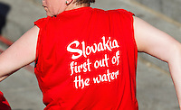 20 JUL 2013 - HAMBURG, GER - A member of the Richard Varga Fan Club wears a t-shirt in support of the Slovak Republic competitor at the elite men's ITU 2013 World Triathlon Series round in the Altstadt Quarter in Hamburg, Germany (PHOTO COPYRIGHT © 2013 NIGEL FARROW, ALL RIGHTS RESERVED)