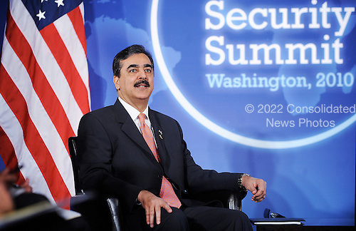 Prime Minister Syed Yousaf Raza Gilani of Pakistan looks on during a meeting with United States President Barack Obama (not pictured) during the Nuclear Security Summit at the Blair House, Sunday, April 11, 2010 in Washington, DC. .Credit: Olivier Douliery / Pool via CNP
