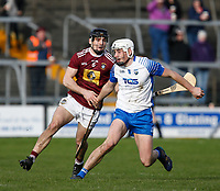 2nd February 2020; TEG Cusack Park, Mullingar, Westmeath, Ireland; Allianz Division 1 Hurling, Westmeath versus Waterford; Niel Montgomery (Waterford) holds on to the ball under pressure from Aonghus Clarke (Westmeath)