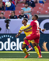 CLEVELAND, OH - JUNE 22: Eric Davis #15 and Emery Welshman #10 contest the ball during a game between Panama and Guyana at FirstEnergy Stadium on June 22, 2019 in Cleveland, Ohio.