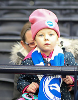 26th December 2019; Tottenham Hotspur Stadium, London, England; English Premier League Football, Tottenham Hotspur versus Brighton and Hove Albion; A young Brighton fan held up by her Mother - Strictly Editorial Use Only. No use with unauthorized audio, video, data, fixture lists, club/league logos or 'live' services. Online in-match use limited to 120 images, no video emulation. No use in betting, games or single club/league/player publications