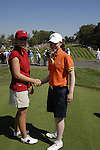 Leona Maguire with her American opponent before teeing off at the Junior Ryder Cup at Valhalla Golf Club, Louisville, Kentucky, USA, 17th September 2008 (Photo by Eoin Clarke/GOLFFILE)