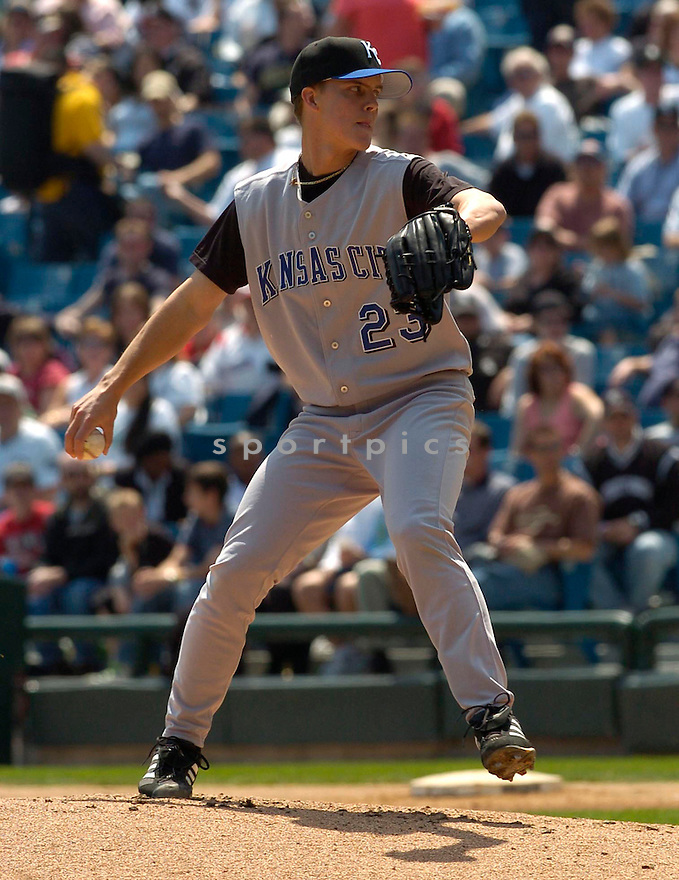 Zack Greinke of the Kansas City Royals during action against the Chicago White Sox. ....Royals lost 1-2.....David Durochik / SportPics..