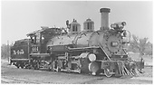 Engineer's-side view of D&amp;RGW #464 in very clean conditiion fresh from the Alamosa overhaul.  Side rods are still down from being hauled dead from Alamosa.<br /> D&amp;RGW  Montrose, CO  Taken by Kindig, Richard H. - 8/24/1940