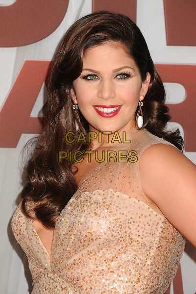 Hilary Scott of Lady Antebellum.The 45th Annual CMA Awards, Country Music's Biggest Night, held at Bridgestone Arena, Nashville, Tennessee, USA..November 9th, 2011.headshot portrait red lipstick  gold sequins sequined .CAP/ADM/BP.©Byron Purvis/AdMedia/Capital Pictures.