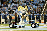 CHAPEL HILL, NC - NOVEMBER 02: University of North Carolina mascot Rameses rings the UNC-Duke Victory Bell during a game between University of Virginia and University of North Carolina at Kenan Memorial Stadium on November 02, 2019 in Chapel Hill, North Carolina.