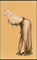 BNPS.co.uk (01202 558833)<br /> Pic: HeritageAuctions/BNPS<br /> <br /> Please Don't Peek Until I Finish Dressing by Alberto Vargas.<br /> <br /> These are the pin-ups troops stuck to their walls to keep morale up while far away from home during the Second World War.<br /> <br /> Before the era of Playboy magazine and the advent of the internet, a group of artists saw an opportunity and started producing pieces of art work of scantily clad women which would get pulses racing.<br /> <br /> The format took off during the war while American troops were overseas and far away from their wives and partners and continued to prove popular throughout the 1950s and into the 1960s. <br /> <br /> Now, original oil on canvas paintings have emerged for auction from the leading names of the genre including Gil Elvgren, Haddon Hubbard Sundblom, Alberto Vargas and Enoch Bolles.<br /> <br /> The marquee piece is Fire Belle (1956) by Elvgren of a lady in a bright red hat and red boots sliding down a fireman's pole which is tipped to sell for &pound;120,000 ($150,000).