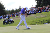 Matthew Fitzpatrick (ENG) sinks his birdie putt on the playoff green 18 at the end of Sunday's Final Round to win the 2018 Omega European Masters, held at the Golf Club Crans-Sur-Sierre, Crans Montana, Switzerland. 9th September 2018.<br /> Picture: Eoin Clarke | Golffile<br /> <br /> <br /> All photos usage must carry mandatory copyright credit (© Golffile | Eoin Clarke)