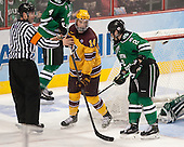 Geoff Miller, Tom Serratorre (MN - 14), Troy Stecher (North Dakota - 2) - The University of Minnesota Golden Gophers defeated the University of North Dakota 2-1 on Thursday, April 10, 2014, at the Wells Fargo Center in Philadelphia to advance to the Frozen Four final.