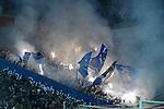 15.04.2019, RheinEnergieStadion, Koeln, GER, 2. FBL, 1.FC Koeln vs. Hamburger SV ,<br />  <br /> DFL regulations prohibit any use of photographs as image sequences and/or quasi-video<br /> <br /> im Bild / picture shows: <br /> verzoegerter Spielbeginn die Hamburger Fans zuenden Feuerwerk und Pyrotechnik<br /> <br /> Foto &copy; nordphoto / Meuter