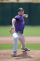 Colorado Rockies relief pitcher Lucas Gilbreath (67) during a Minor League Spring Training game against the Milwaukee Brewers at Salt River Fields at Talking Stick on March 17, 2018 in Scottsdale, Arizona. (Zachary Lucy/Four Seam Images)