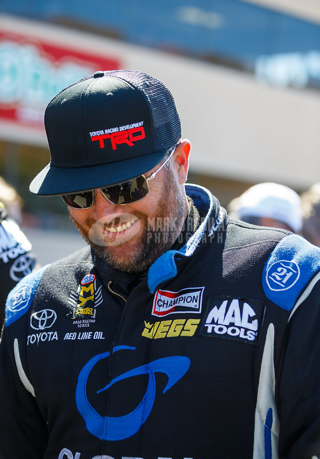 Jul 30, 2017; Sonoma, CA, USA; NHRA top fuel driver Shawn Langdon during the Sonoma Nationals at Sonoma Raceway. Mandatory Credit: Mark J. Rebilas-USA TODAY Sports